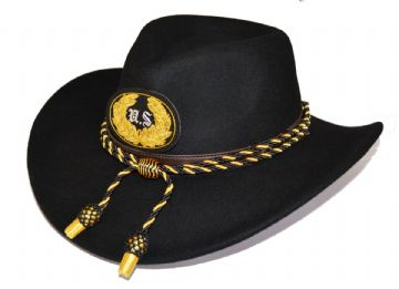 Union Black Slouch Hat Black Gold Cord & US Badge